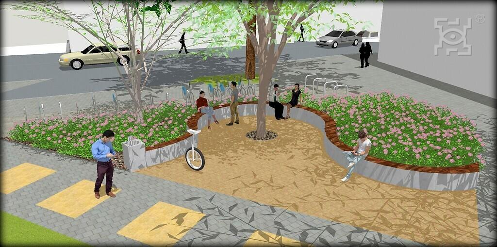 Miejsca Dla Ciebie - wizualizacja zagospodarowania terenu zielonego przy skrzyżowaniu ul. Hempla/Peowiaków/Kołątaja