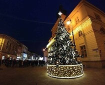 Christmas tree in front of the Town Hall in Lublin
