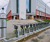 A bicycle station in front of Medical University of Lublin