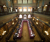 Interior of the Solvay Library in Brussels.