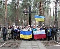Association members and local activists at the Polish soldiers' cemetery