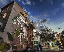 Photo 3: the wall mural of Lubartowska 69 inspired by the Lublin cider and the...
