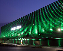 "Lublin Arena in new colours on March 17. The stadium ""went green"" between 6 p.m...."