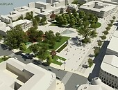 View at the Litewski Square following overhaul. Visualisation shows the latter from above the Europa Hotel