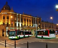Buses at night