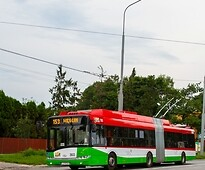 A trolleybus
