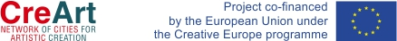 logo of CreArt and the flag of European Union, description on co-funding as part of the Creative Europe Programme
